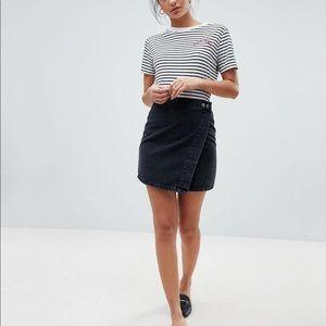ASOS black denim wrap skirt